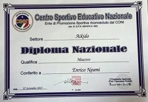 Diploma Nazionale C.S.E.N. per la qualifica di Maestro.
