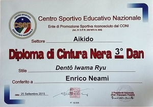 Diploma C.S.E.N. per il grado di sandan (III dan) Dentoo Iwama Ryu.