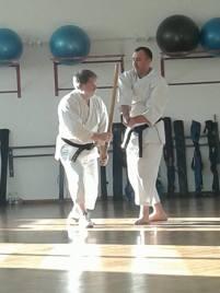 Il Maestro Michele Marolla dimostra delle tecniche di aiki ken (uke Enrico Neami)