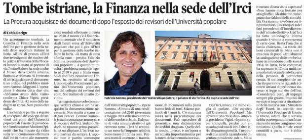 """La notizia come apparsa nell'edizione del 26 settembre 2014 su """"Il Piccolo"""", quotidiano di Trieste"""