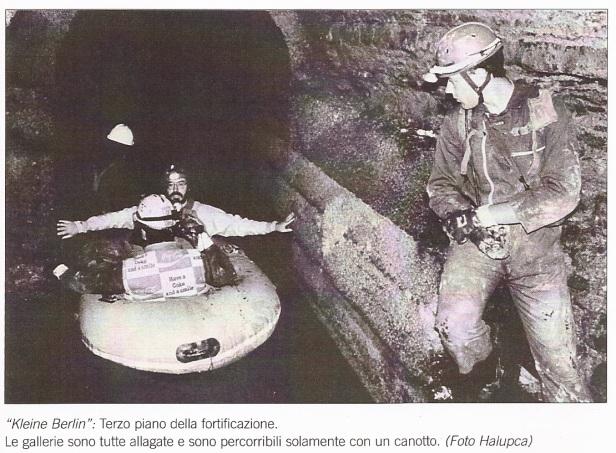 Cavità Artificiale 144/FVG - 16 luglio 1992. Da destra: Enrico Neami, Dario Neami (di spalle), Paolo Guglia e, mentre traina il battellino, Aldo Pribaz.