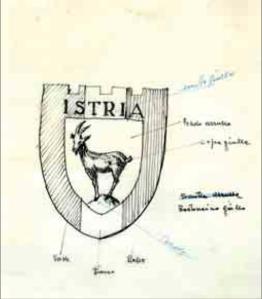Bozzetto originale dello stemma dell'Unione degli Istriani, 1957 (Archivio Storico Unione degli Istriani).