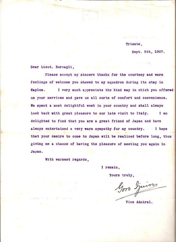 Lettera del viceammiraglio Ijuin Goro, datata