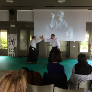 Sistiana - 9/5/15 - Il M° Michele Marolla dimostra una ntecnica a mani nude (taijutsu): Shomenuchi Iriminage. [Uke: E.Neami]