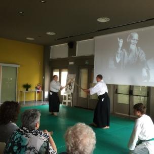 Sistiana - 9/5/15 - Il M° Michele Marolla dimostra una tecnica con la spada (Aikiken). [Uke: E. Neami]