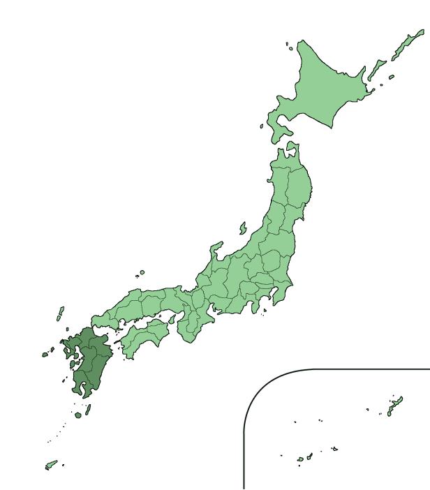 Mappa del Giappone con evidenziata la regione di Kyushu.