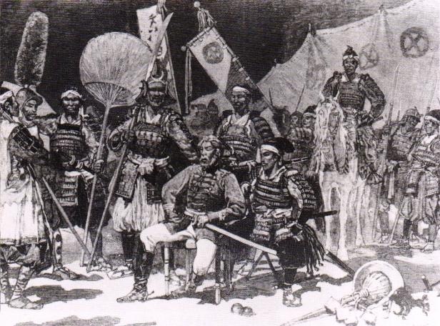 Saigo Takamori, al centro, vestito all'occidentale, assieme ai suoi ufficiali.