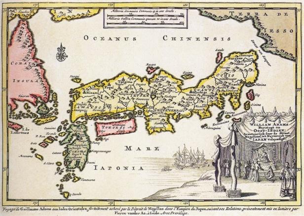 Mappa del Giappone tracciata nel 1707. In basso a destra la riproduzione dell'incontro tra William Adams e lo Shogun Tokugawa