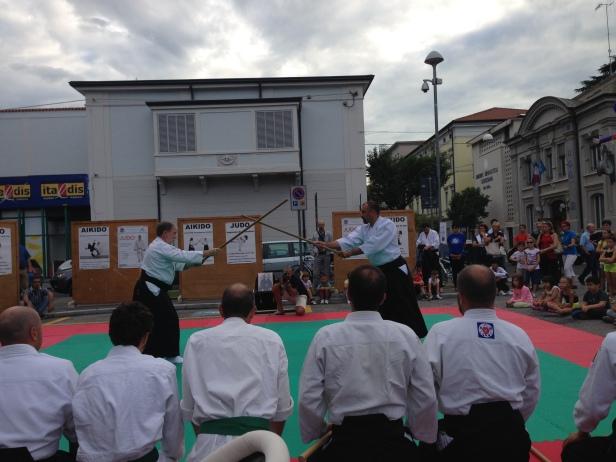 """Un momento della dimostrazione di Shin Shin Aikido in occasione di """"1000 ragazzi in piazza"""" edizione 2014."""