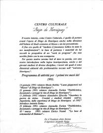 Il volantino originale con il programma per il primo trimestre dell'anno 1993.