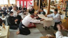 Iwama, 17 gennaio 2016: Saito Hitohira Jukucho conferisce l'VIII dan Dentoo Iwama Ryu a Tristao Da Cunha Shihan