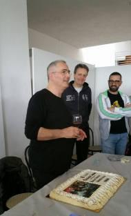 Istantanea durante il discorso di Alessandro Tittarelli Shihan; accanto a lui Alberto Boglio Shihan e Adamo Rossi