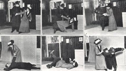 Edith Garrud dimostra alcune tecniche di jujutsu